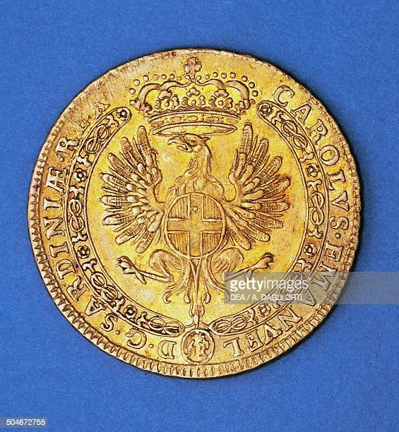 Gold quadruple sequin of Charles Emmanuel III of Savoy obverse depicting a crowned eagle Kingdom of Sardinia 18th century