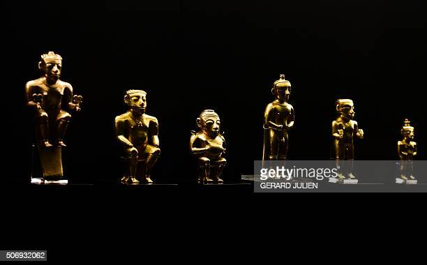 Gold Quimbayas caciques part of a 123 piece preColumbian archaeological treasure of the indigenous Quimbayas donated by the Columbian government...