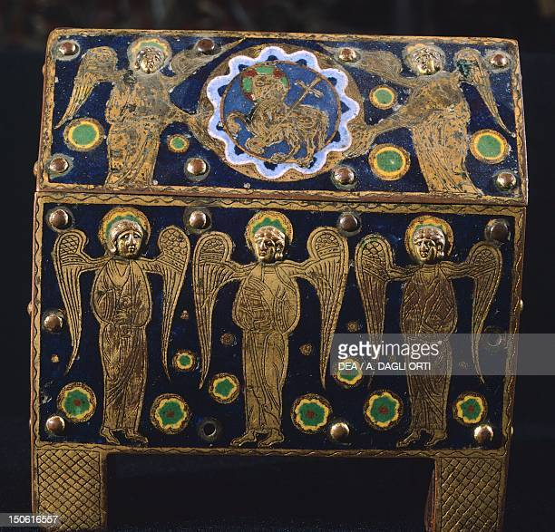 Gold reliquary from the treasure of the Monreale Cathedral Sicily Italy Jewellery Byzantine Civilization