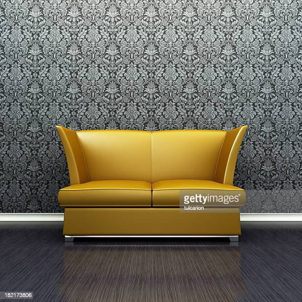 Gold Retro Sofa in lounge room