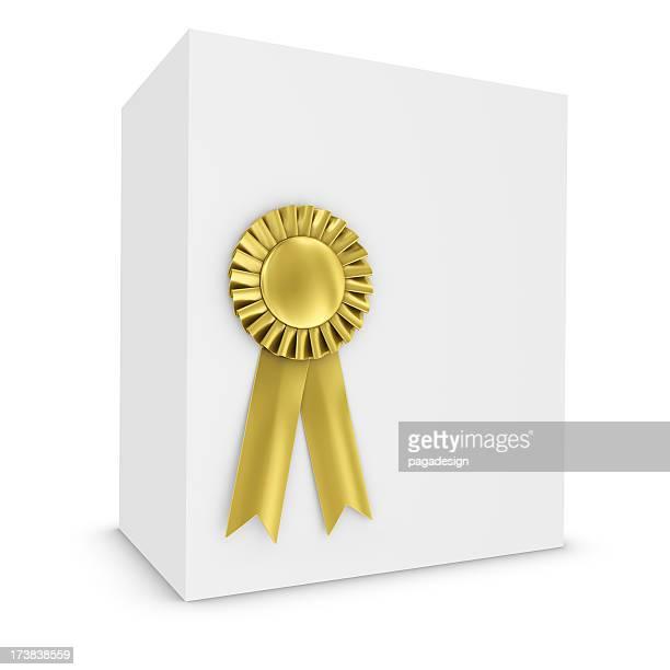 gold ribbon on white box