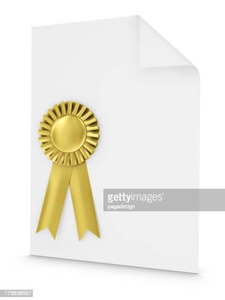 gold ribbon on white document