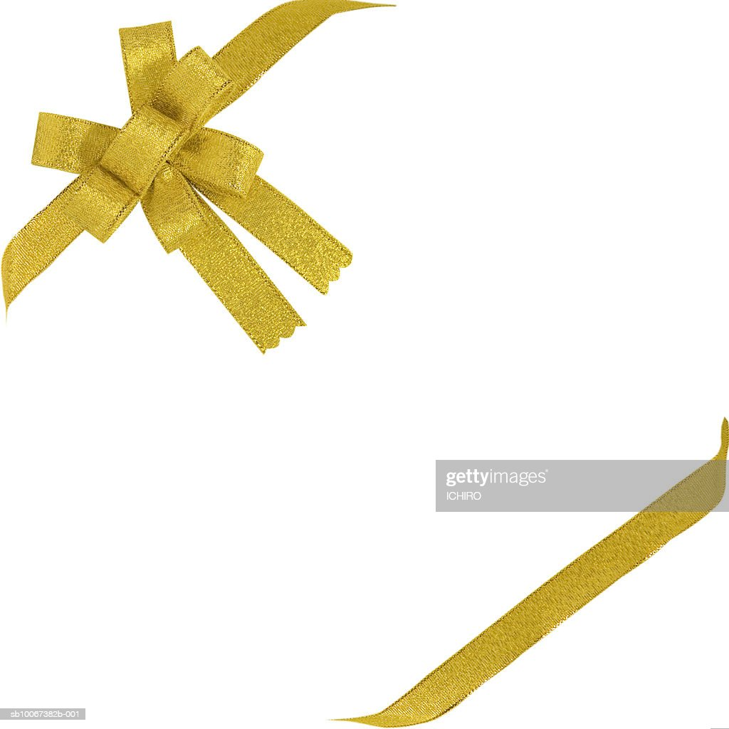 gold ribbon with bow on white background ストックフォト getty images