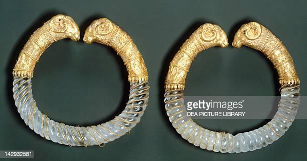 Gold rock crystal and copper bracelets Goldsmith art Greek Civilization 4th Century BC New York The Metropolitan Museum Of Art