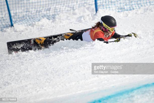 Gold RT Hofmeister of Germany crashes during the semi finals of the Ladies' Snowboard Parallel Giant Slalom competition at Phoenix Snow Park on...