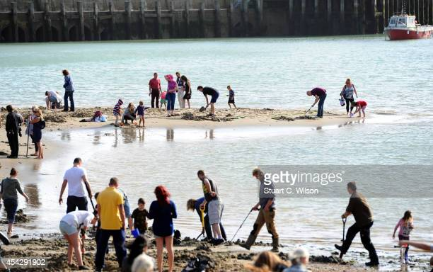Gold Rush begins at the beach for Folkestone Triennial Public Art Project on August 28 2014 in Folkestone England