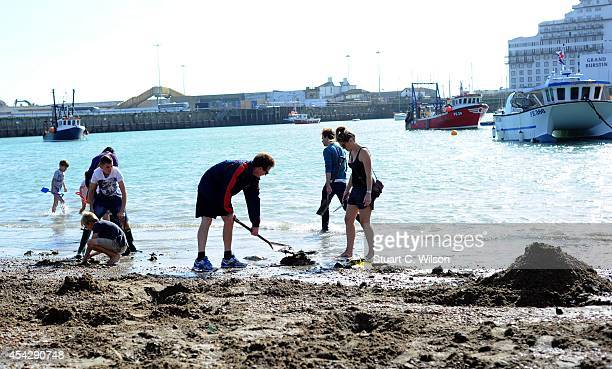 Gold Rush begins on the beach for Folkestone Triennial Public Art Project on August 28 2014 in Folkestone England