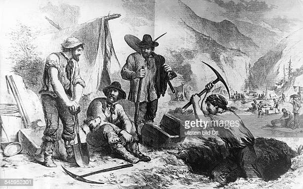 Gold rush California 18481854 Gold digging and washing in a riverbed about 1850contemp wood engraving
