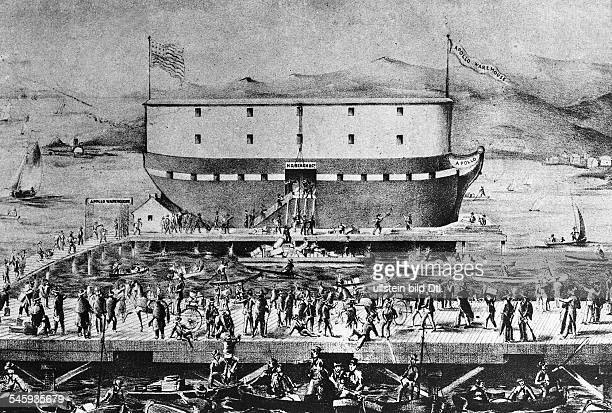 Gold rush California 18481854 Storeship 'Apollo' at ther quai of San Francisco harbour 1850Lithograph of a contemp drawing