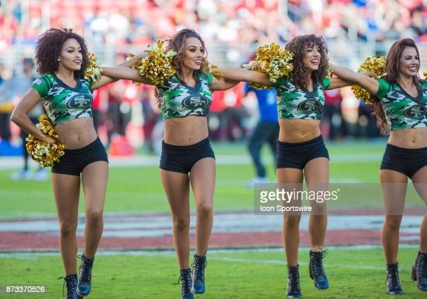 Gold Rush Cheerleaders perform at halftime during the regular season game between the San Francisco 49ers and the New York Giants on November 12 2017...