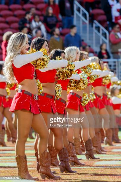 Gold Rush girls at attention for the anthem before the regular season game between the Arizona Cardinals and the San Francisco 49ers held November 5...
