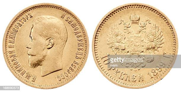 Gold russian coin on white background