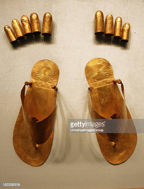 Gold sandals toe and finger stalls Dynasty 18 reign of Thutmose 111 Gold From the tomb of the three minor wives of Thutmose 111 in the Wady Gabbanat...
