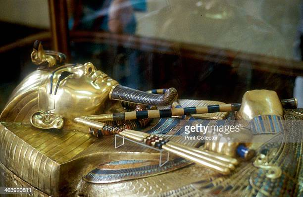 Gold sarcophagus of King Tutankamun, 18th dynasty, Ancient Egypt, c1323 BC. Tutankhamun came to the throne as a young boy in 1333 BC. Although he...