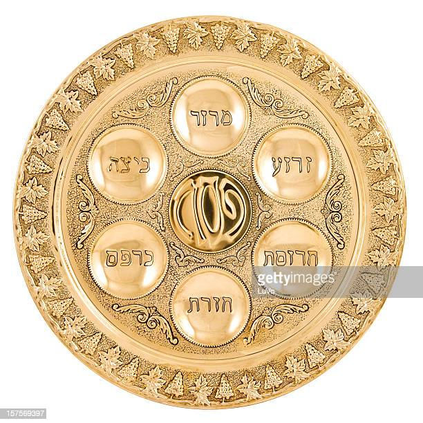 gold seder plate - passover seder plate stock pictures, royalty-free photos & images