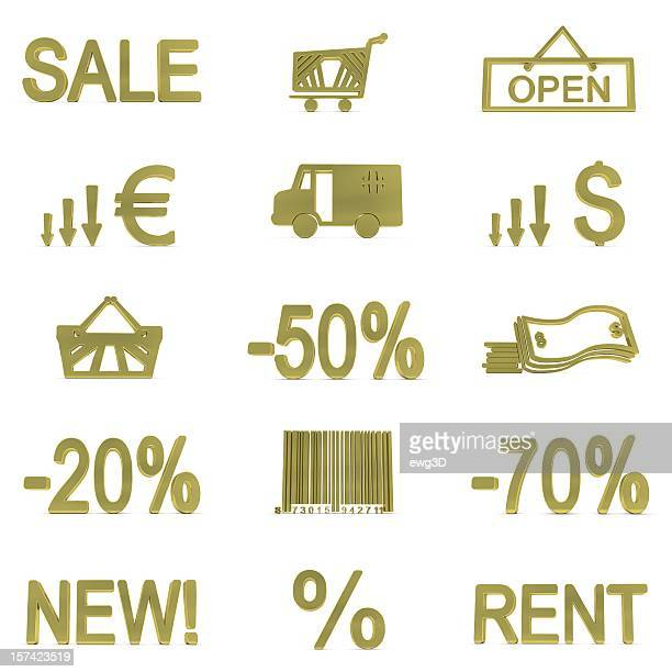 gold shopping icons - event icon set stock photos and pictures