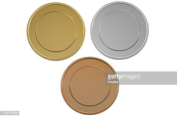 gold silver and bronze blank medals/coins - bronze medalist stock pictures, royalty-free photos & images