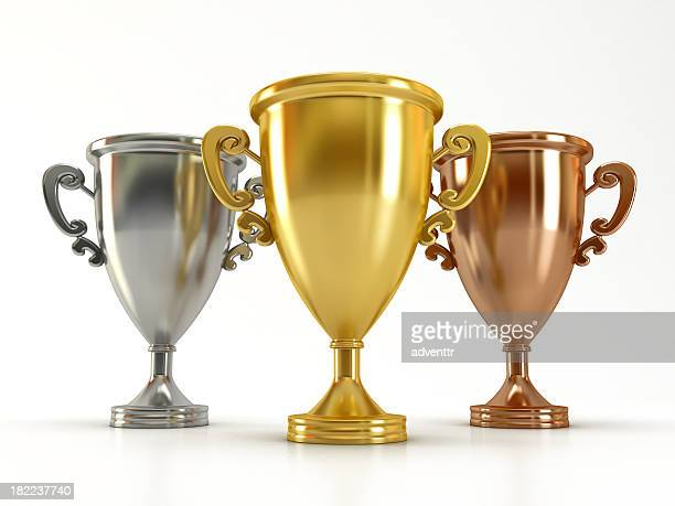 gold, silver and bronze cups - bronze medalist stock pictures, royalty-free photos & images