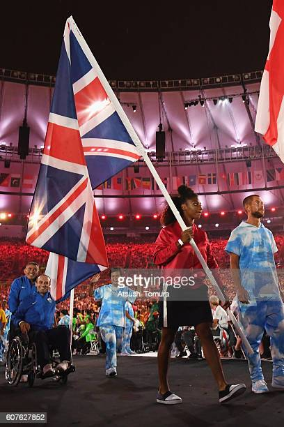 Gold silver and bronze medalist Kadeena Cox carries the Great Britain flag during the closing ceremony of the Rio 2016 Paralympic Games at Maracana...