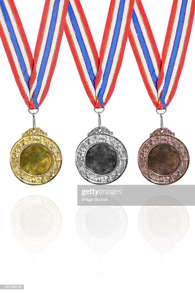 gold silver and bronze medals stock photo getty images