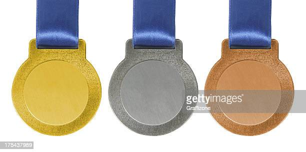 Gold silver and Bronze medals