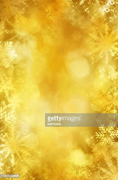Gold snowflake frame and defocused lights