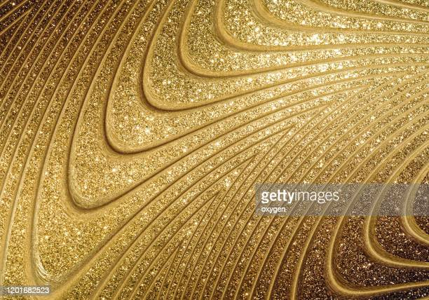 gold soft abstract wave glitter bbackground artworks. gold 3d stripe waves futuristic background - beige stock pictures, royalty-free photos & images