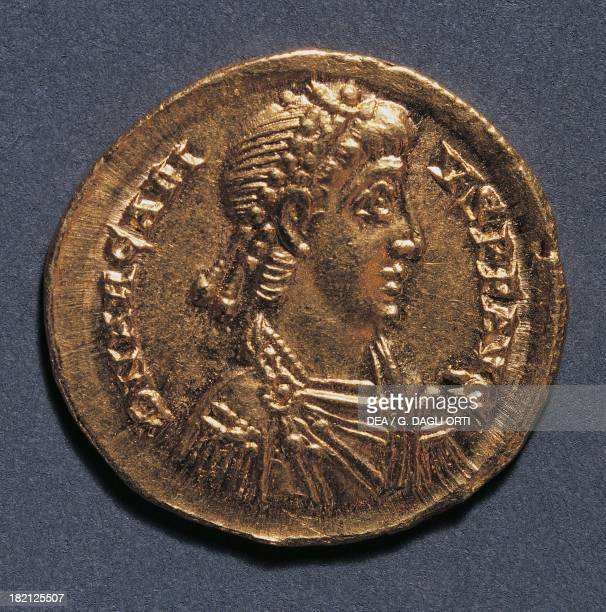 Gold solidus of Arcadius Emperor of the East minted in Minalo 383 AD Roman coins 4th century AD