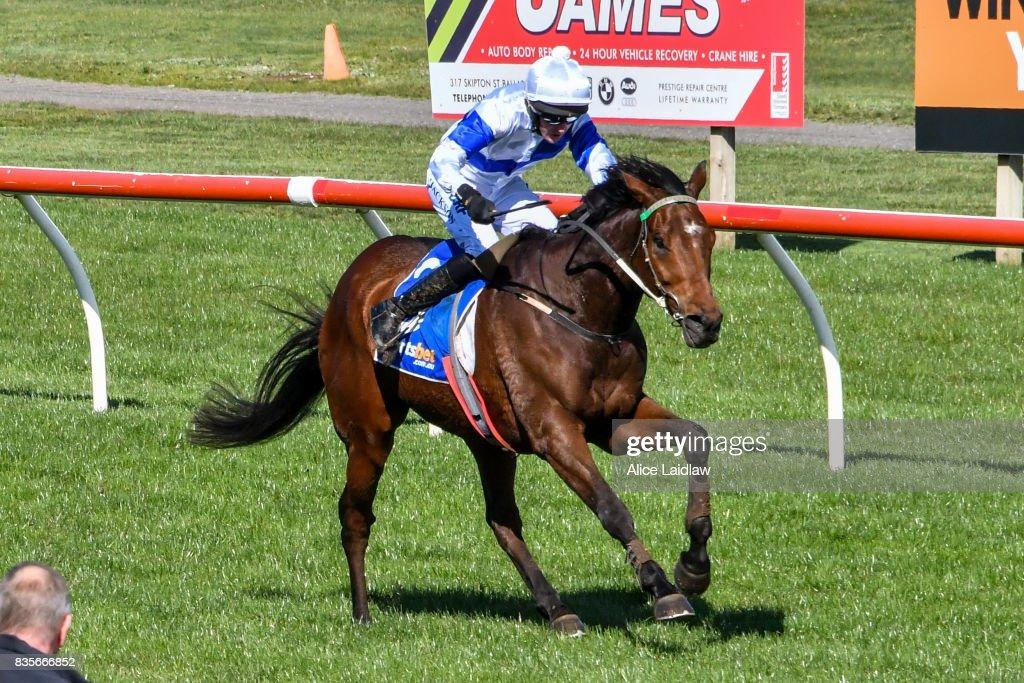 Gold Spur ridden by Shane Jackson wins the Spoton Linemarking Marathon Hurdle at Sportsbet-Ballarat Racecourse on August 20, 2017 in Ballarat, Australia.