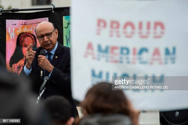 Gold Star father Khizr Khan speaks to activists as they rally against the Muslim Ban on the day the Supreme Court hears arguments in Hawaii v Trump...