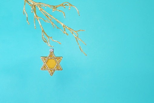 Gold star of David ornament hanging from gold tree branch. - gettyimageskorea