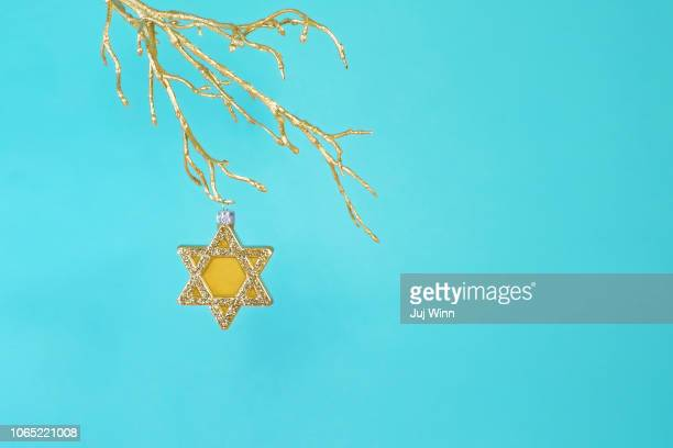Gold star of David ornament hanging from gold tree branch.