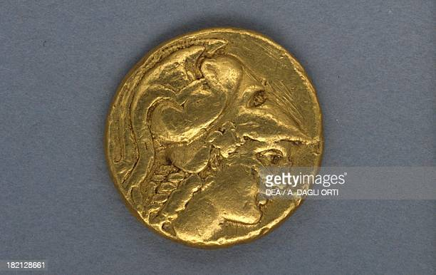 Gold stater bearing the image of Alexander the Great minted by the Mint of Amphipolis 336 BC recto Greek coins 4th century BC Padova Musei Civici...