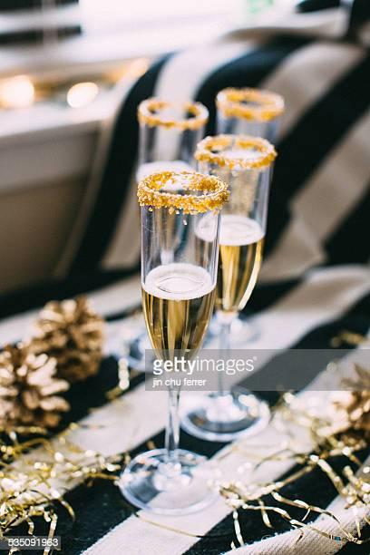 Gold Sugar Rimmed Champagne Flutes