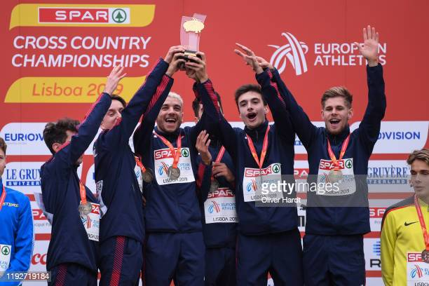 Gold Team of France reacts during the medal ceremony on the podium after finishing in the U23 Team at the SPAR European Cross Country Championships...