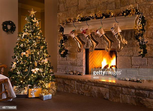 Gold Theme Christmas Eve: tree, fireplace, stockings, gifts, mantel, hearth