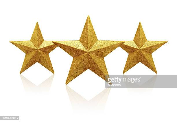 gold three stars (clipping path!) isolated on white background - three objects stock pictures, royalty-free photos & images