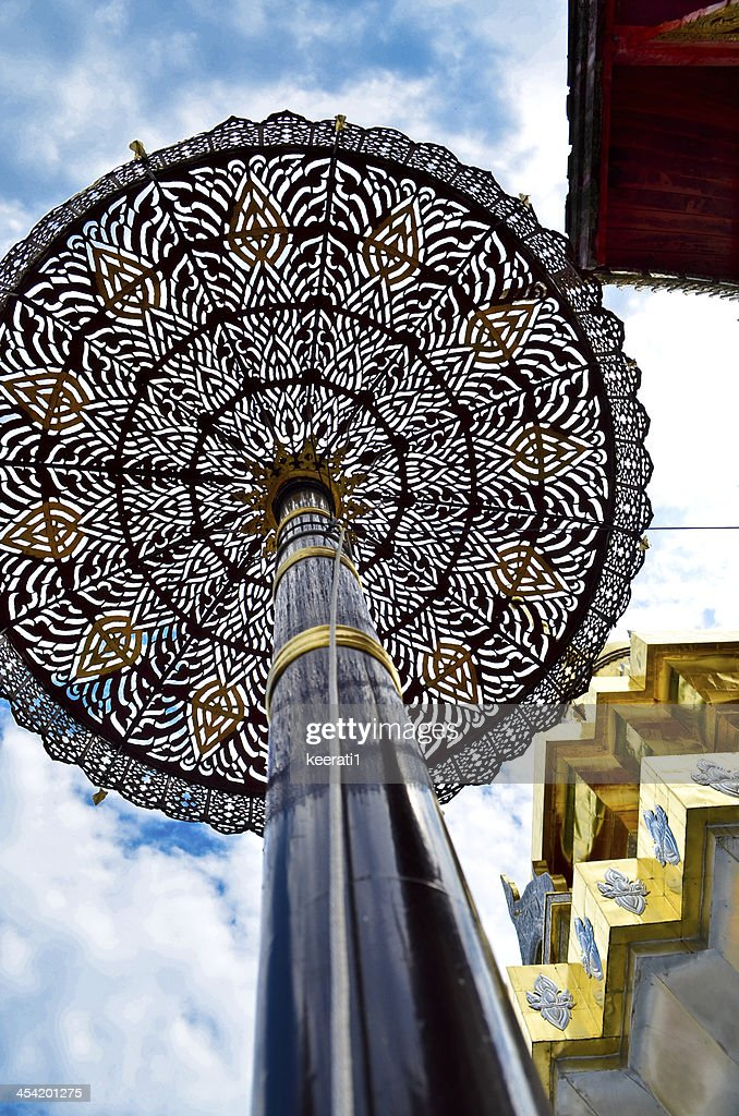 Gold tiered umbrella around pagoda temple chiangmai Thailand : Stock Photo