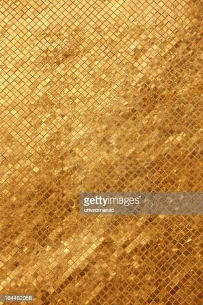 gold tile mosaic background. - mosaic stock pictures, royalty-free photos & images