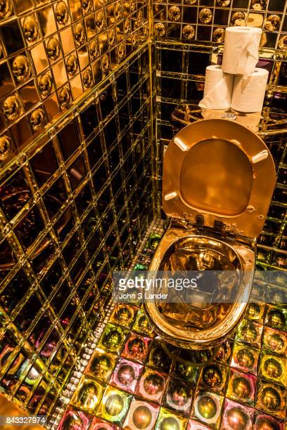 Gold Toilet at Robot Restaurant in Kabukicho Shinjuku where robotic women and demons stage mock battles in this steroid heavy attraction with neon...