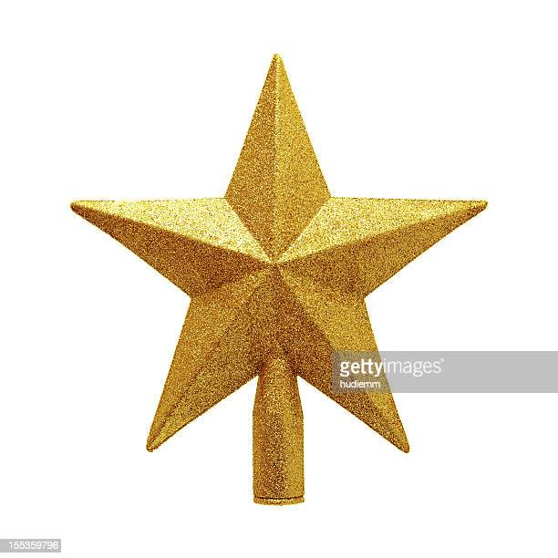 gold tree topper isolated on white background - christmas star stock photos and pictures
