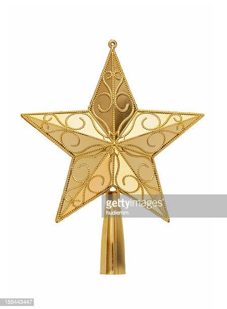 Gold tree topper (Clipping path!) isolated on white background