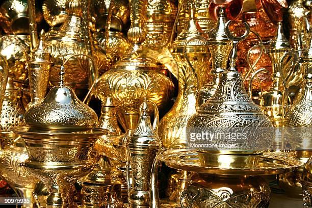 Gold trinkets at Khan Al Khalili in Cairo Egypt