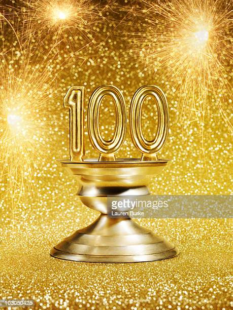 Gold Trophy with Number 100