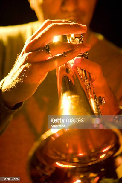 gold trumpeter - blues stock photos and pictures