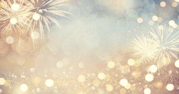 Gold Vintage Fireworks and bokeh in New Year eve and copy space. Abstract background holiday. 1087097456