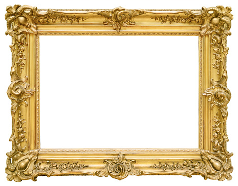 Gold vintage frame isolated on white background 497315730