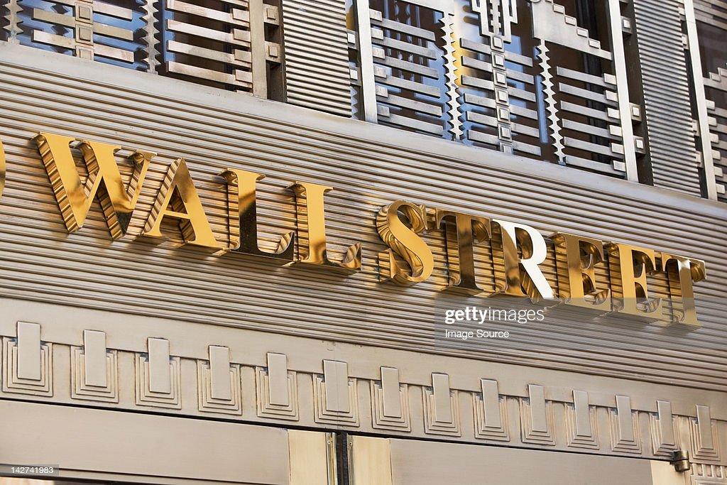 Gold Wall Street sign, New York City, USA : Stock Photo
