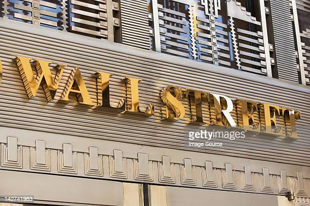 Gold Wall Street sign, New York City, USA