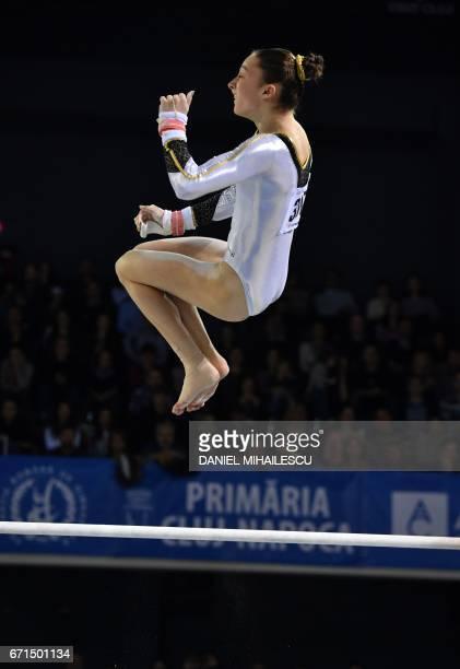 Gold winner Nina Derwael of Belgium performs during women uneven bars apparatus final at the European Artistic Gymnastics Championship in ClujNapoca...